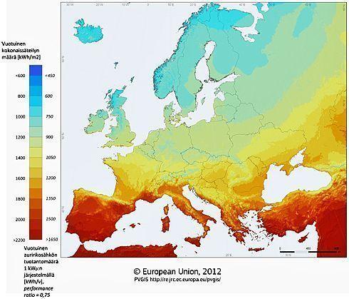 Vuotuinen aurinkosähkön tuotantomäärä Euroopassa1kWp järjestelmällä